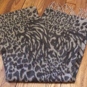 Brown and tan print scarf